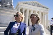 Actors and activists Busy Philipps and Elizabeth Banks participate in an abortion rights rally outside of the Supreme Court as the justices hear oral arguments in the June Medical Services v. Russo case on March 4, 2020 in Washington, DC. The Louisiana abortion case is the first major abortion case to make it to the Supreme Court since Donald Trump became President.
