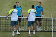 Match winners Jamie Murray (R) of Great Britain and John Peers (L) of Australia shake hands with Bob Bryan (R) of the United States and Mike Bryan (L) of the United States during their Men's Doubles on day four of the Aegon Championships at Queens Club on June 12, 2014 in London, England.