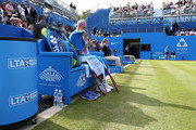 Sabine Lisicki of Germany looks on from her bench in her quarter final match over Daniela Hantuchova of Slovakia on day five of the Aegon Classic at Edgbaston Priory Club on June 19, 2015 in Birmingham, England.
