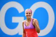Sabine Lisicki of Germany celebrates victory in her quarter final match over Daniela Hantuchova of Slovakia on day five of the Aegon Classic at Edgbaston Priory Club on June 19, 2015 in Birmingham, England.