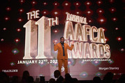 Lil Rel Howery speaks at The African American Film Critics Association's 11th Annual AAFCA Awards at Taglyan Cultural Complex on January 22, 2020 in Hollywood, California.