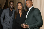 (L-R) Sterling K. Brown, Garcelle Beauvais, and Jamie Foxx pose for portrait at The African American Film Critics Association's 11th Annual AAFCA Awards at Taglyan Cultural Complex on January 22, 2020 in Hollywood, California.