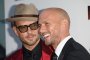 """Matt Goss and Luke Goss attend the UK Premiere of """"After The Screaming Stops"""" at the 62nd BFI London Film Festival on October 17, 2018 in London, England."""