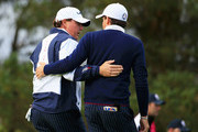Phil Mickelson of the United States and Keegan Bradley of the United States in discussion during the Afternoon Foursomes of the 2014 Ryder Cup on the PGA Centenary course at the Gleneagles Hotel on September 26, 2014 in Auchterarder, Scotland.