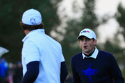 Keegan Bradley of the United States and Phil Mickelson of the United States react during the Afternoon Foursomes of the 2014 Ryder Cup on the PGA Centenary course at the Gleneagles Hotel on September 26, 2014 in Auchterarder, Scotland.