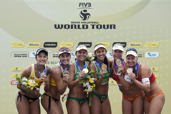 FIVB Beach Volleyball World Tour Rio Open - Day 1 [photos,sports,team,team sport,competition,volleyball,beach volleyball,fun,competition event,medal,award,larissa,agatha,barbara,l-r,brazil,fivb beach volleyball world tour,rio open,medal ceremony,event]