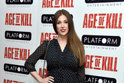 "LONDON, ENGLAND - APRIL Actress Lucy Pinder attends a private screening of ""Age Of Kill"" at Ham Yard Hotel on April 1, 2015 in London, England."