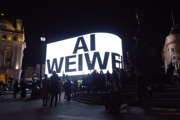 """Ai Weiwei """"New York Days"""" By Ai Weiwei On The Piccadilly Lights"""
