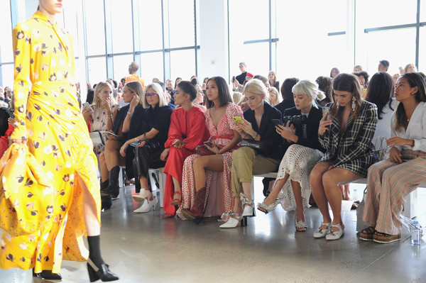 Self-Portrait Spring Summer 2019 - Front Row - New York Fashion Week [self-portrait,fashion,event,fashion design,yellow,fashion model,fashion designer,runway,haute couture,performance,aimee song,camila coelho,danielle bernstein,leonie hanne,caroline daur,front row,l-r,xenia adonts,new york fashion week]