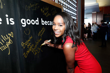 Aja Naomi King Life Is Good at the GOLD MEETS GOLDEN Event in Los Angeles