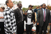 Recording Artists, Ludacris, Akon, Big Boi and Atlanta canidate for Mayor Kasim Reed at South Cobb High School to give turkeys to families in need on November 24, 2009 in Austell, Georgia.
