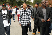 Recording Artists, Big Boi, Ludacris and Akon at South Cobb High School to give turkeys to families in need on November 24, 2009 in Austell, Georgia.