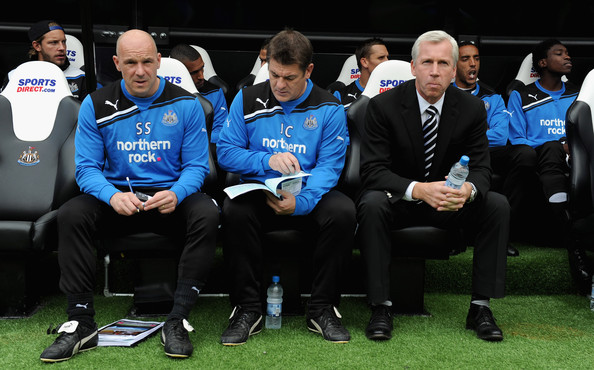 Alan Pardew Newcastle manager Alan Pardew sits with backroom staff Steve Stone and John Carver during the Barclays Premier League match between Newcastle United and Blackburn Rovers at St James' Park on September 24, 2011 in Newcastle upon Tyne, England.