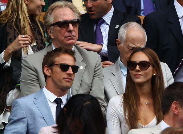 Alan Rickman Actor Alan Rickman (back left) and motor racing driver Jenson Button (front left) and girlfriend Jessica Michibata (centre right) attend the final round Gentlemen's match between Rafael Nadal of Spain and Novak Djokovic of Serbia on Day Thirteen of the Wimbledon Lawn Tennis Championships at the All England Lawn Tennis and Croquet Club on July 3, 2011 in London, England.