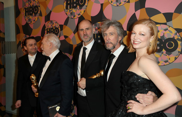 HBO's Official Golden Globes After Party - Arrivals [event,formal wear,suit,tuxedo,fun,little black dress,premiere,kieran culkin,sarah snook,alan ruck,jesse armstrong,brian cox,california,golden globes,hbo,party,arrivals,alan ruck,jesse armstrong,kieran culkin,sarah snook,brian cox,succession,hbo,photograph,image]