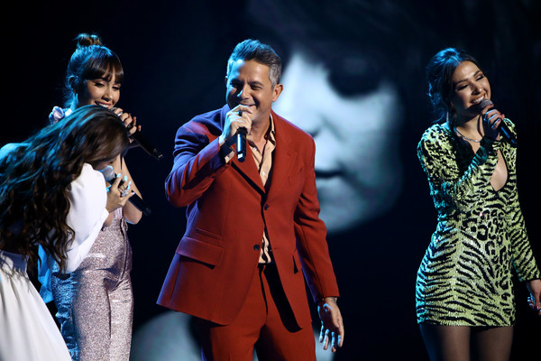 20th Annual Latin GRAMMY Awards - Show [performance,entertainment,performing arts,event,music artist,music,stage,musical,performance art,song,greeicy,nella,alejandro sanz,l-r,aitana,las vegas,nevada,mgm grand garden arena,latin grammy awards,show]