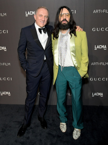 2018 LACMA Art + Film Gala Honoring Catherine Opie And Guillermo Del Toro Presented By Gucci - Red Carpet [lacma art film gala,suit,formal wear,fashion,tuxedo,outerwear,event,facial hair,footwear,premiere,blazer,catherine opie,guillermo del toro,francois-henri pinault,alessandro michele,kering chairman,lacma,gucci,red carpet,l]