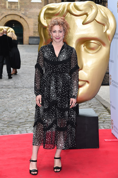 British Academy Television Craft Awards - Red Carpet Arrivals [red carpet,carpet,flooring,fashion,hairstyle,premiere,dress,blond,event,haute couture,red carpet arrivals,alex kingston,london,england,the brewery,british academy television craft awards]