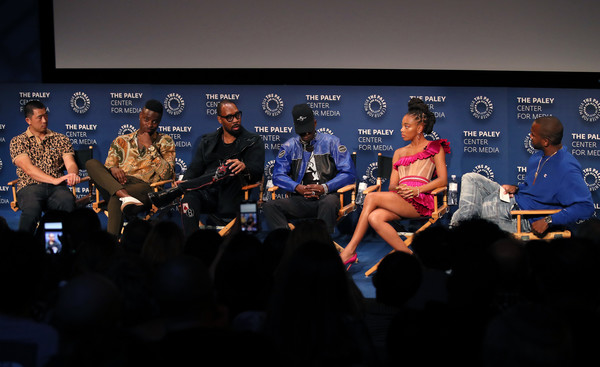 The Paley Center For Media's 2019 PaleyFest Fall TV Previews - Hulu - Inside [wu-tang: an american saga,sky,event,news conference,convention,performance,competition event,world,team,display device,crowd,alex tse,zolee griggs,johnell young,rza,ashton sanders,paleyfest fall tv previews,stage,l-r,paley center for media]