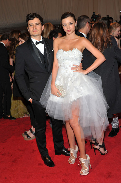 "Actor Orlando Bloom and model Miranda Kerr attend the ""Alexander McQueen: Savage Beauty"" Costume Institute Gala at The Metropolitan Museum of Art on May 2, 2011 in New York City."