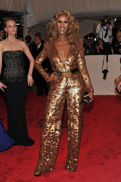 "Model Iman attends the ""Alexander McQueen: Savage Beauty"" Costume Institute Gala at The Metropolitan Museum of Art on May 2, 2011 in New York City."