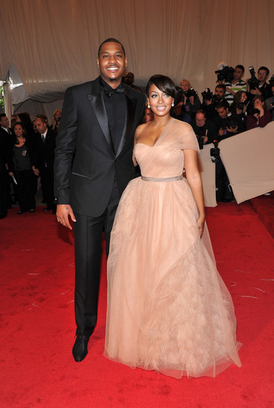 "NBA player Carmelo Anthony of the New York Knicks and TV personality Lala Vasquez attend the ""Alexander McQueen: Savage Beauty"" Costume Institute Gala at The Metropolitan Museum of Art on May 2, 2011 in New York City."