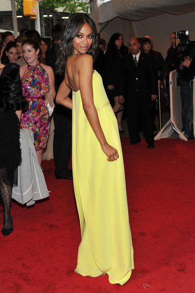 "Actress Zoe Saldana attends the ""Alexander McQueen: Savage Beauty"" Costume Institute Gala at The Metropolitan Museum of Art on May 2, 2011 in New York City."