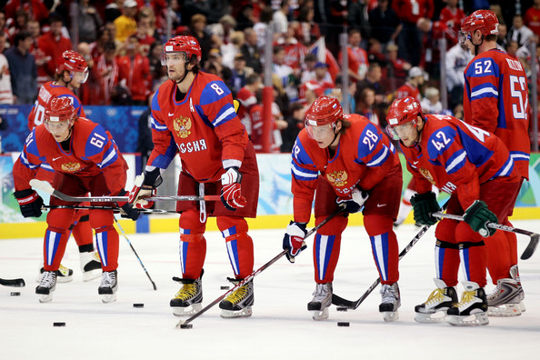 Ice Hockey - Day 10 [sports,team sport,hockey protective equipment,player,defenseman,sports gear,hockey,tournament,ice hockey,stick and ball games,ice hockey men,alexander semin,alexander ovechkin,maxim afinogenov,ice hockey,l-r,ups,canada hockey place,russian federation,game]