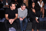 Justin Theroux, Nate Lowman and Solange Knowles attend the Alexander Wang X H&M Launch on October 16, 2014 in New York City.