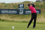 Mark Boucher, former South Africa cricketer, in action during the second round of the Alfred Dunhill Links Championship at Kingsbarns Golf Links on September 27, 2013 in Kingsbarns, Scotland.