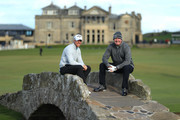 David Horsey and Piers Morgan pose for a photo on the Swilken Bridge during day one of the 2018 Alfred Dunhill Links Championship at The Old Course on October 4, 2018 in St Andrews, Scotland.