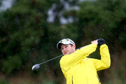 South African cricketeer Mark Boucher plays off the 10th tee during the third round of the 2014 Alfred Dunhill Links Championship at Kingsbarns Golf Links on October 4, 2014 in Kingsbarns, Scotland.