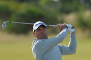Former South African cricketer Jacques Kallis (Am), plays his second shot to the 1st during the Alfred Dunhill Links Championship previews at Kingsbarns Golf Links on October 4, 2016 in St Andrews, Scotland.