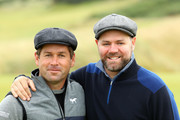 Irish Musician Brian McFadden and Robert Rock of England  during previews prior to the 2018 Alfred Dunhill Links Championship at Kingsbarns on October 3, 2018 in St Andrews, Scotland.