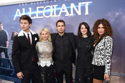 """(L-R) Actors Ansel Elgort, Naomi Watts, Theo James, Shailene Woodley, and Nadia Hilker attend the New York premiere of """"Allegiant"""" at the AMC Lincoln Square Theater on March 14, 2016 in New York City."""