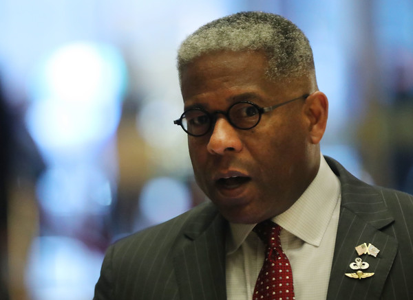 President-Elect Donald Trump Holds Meetings At Trump Tower [human,official,glasses,spokesperson,businessperson,donald trump,allen west,members,trump tower,u.s.,new york city,office,cabinet,meetings,meetings]
