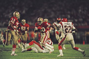 Jerry Rice #80, Wide Receiver for the San Francisco 49ers runs the ball during the National Football League Super Bowl XVIII game against the Cincinnati Bengals on 22 January 1989 at the Joe Robbie Stadium, Miami, Florida, United States. The 49ers won the game 20 - 16.