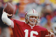 Joe Montana #16, back up Quarterback for the San Francisco 49ers during the National Football Conference West Divisional Championship game against the Washington Redskins on 9 January 1993 at Candlestick Park, San Francisco, California, United States. The 49ers won the game 20 - 13.