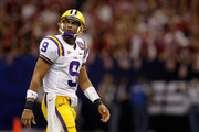 Jordan Jefferson #9 of the Louisiana State University Tigers walks off the field against the Alabama Crimson Tide during the 2012 Allstate BCS National Championship Game at Mercedes-Benz Superdome on January 9, 2012 in New Orleans, Louisiana.