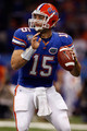 Quarterback Tim Tebow #15 of the Florida Gators throws a pass against the Cincinnati Bearcats during the Allstate Sugar Bowl at the Louisana Superdome on January 1, 2010 in New Orleans, Louisiana.