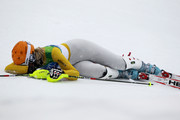 A dejected Susanne Riesch of Germany lies in the snow after failing to finish the course during the Ladies Slalom second run on day 15 of the Vancouver 2010 Winter Olympics at Whistler Creekside on February 26, 2010 in Whistler, Canada.