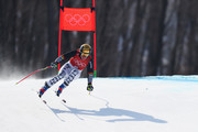 Viktoria Rebensburg of Germany makes a run during the Ladies' Downhill Alpine Skiing training on day eleven of the PyeongChang 2018 Winter Olympic Games at Jeongseon Alpine Centre on February 20, 2018 in Pyeongchang-gun, South Korea.