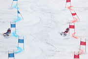 Tessa Worley (L) of France and Wendy Holdener of Switzerland compete during the Alpine Team Event Semifinals on day 15 of the PyeongChang 2018 Winter Olympic Games at Yongpyong Alpine Centre on February 24, 2018 in Pyeongchang-gun, South Korea.