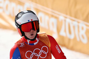 Tessa Worley of France reacts at the finish during the Ladies' Giant Slalom on day six of the PyeongChang 2018 Winter Olympic Games at Yongpyong Alpine Centre on February 15, 2018 in Pyeongchang-gun, South Korea.