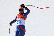 Chemmy Alcott of Great Britain reacts after a run during the Alpine Skiing Women's Super-G on day 8 of the Sochi 2014 Winter Olympics at Rosa Khutor Alpine Center on February 15, 2014 in Sochi, Russia.