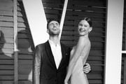 ( Editors Note: Image processed using digital filters )  Singer Adam Levine and wife Behati Prinsloo attend the 2015 Vanity Fair Oscar Party at Wallis Annenberg Center for the Performing Arts on February 22, 2015 in Beverly Hills, California.