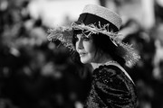 "This image has been digitally altered) French actress Isabelle Adjani poses as she arrives for the screening of the film ""La Belle Epoque""during the 72nd annual Cannes Film Festival on May 20, 2019 in Cannes, France."