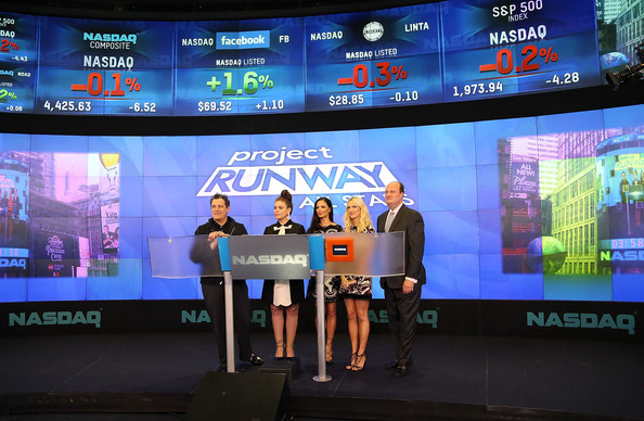 'Project Runway All Stars' Ring the Closing Bell [isaac mizrahi,alyssa milano,david wicks,the nasdaq closing bell,fashion designer,co-founder,senior fashion editor,project runway all stars,rings,fashion label,display device,technology,stage equipment,electronic device,flat panel display,led display,media,stage,advertising,event]