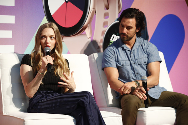 POPSUGAR Play/Ground 2019 – Day 1 [sitting,fashion,long hair,fun,event,photography,leisure,brown hair,model,conversation,milo ventimiglia,amanda seyfried,popsugar play,stage,ground,ground,new york city,pier 94,popsugar]