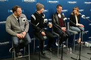 (L-R) Director Marc Webb, Dane DeHaan, Andrew Garfield, and Emma Stone of the cast of 'The Amazing Spider-Man 2' answer questions from fans during a SiriusXM 'Town Hall' special with host Jamie Foxx on SiriusXM's The Foxxhole channel at the SiriusXM Studio on April 24, 2014 in New York City.